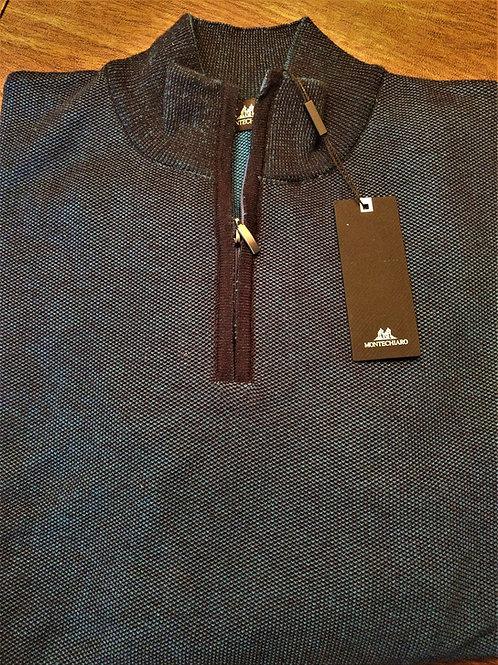 Black and Teal Birdseye 1/4 ZIp Sweater