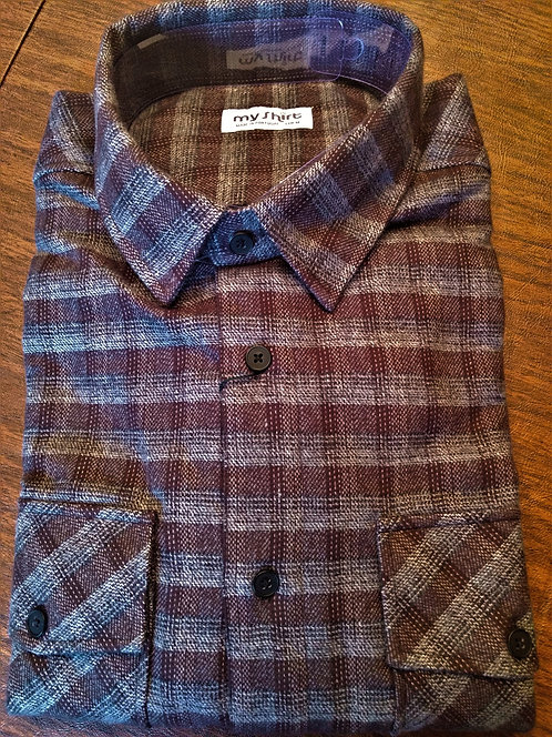 EL Luxury Flannel Shirts-Premium, Long Staple Cotton Shirt-Grey Stripe