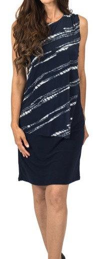 Navy Ivory sheath drape front dress 5638