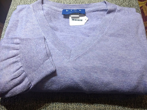 Lilac V-Neck Pima Cotton  Sweater from Blue