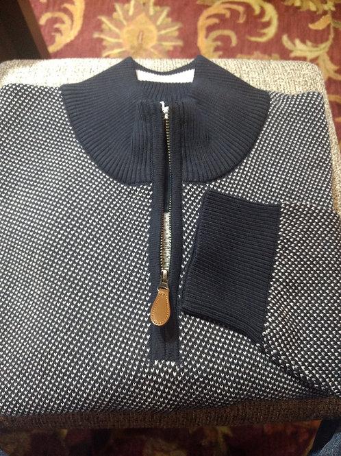 Dark Navy Birds eye 1/4 Zip  Pima Cotton  Sweater from Blue*