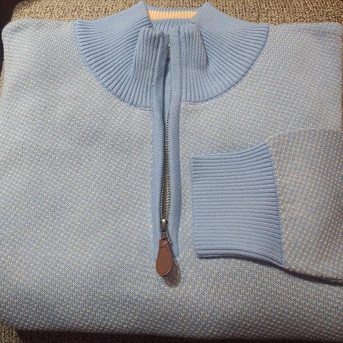 Baby Blue Birds eye 1/4 Zip  Pima Cotton  Sweater from Blue*