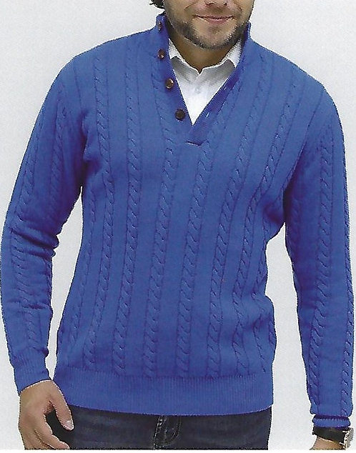 100% Cashmere 7 Gauge Front Opening Heavy Cable Mock