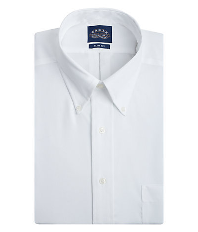 Eagle Slim Fit Non Iron Pinpoint Solid Buttondown Collar