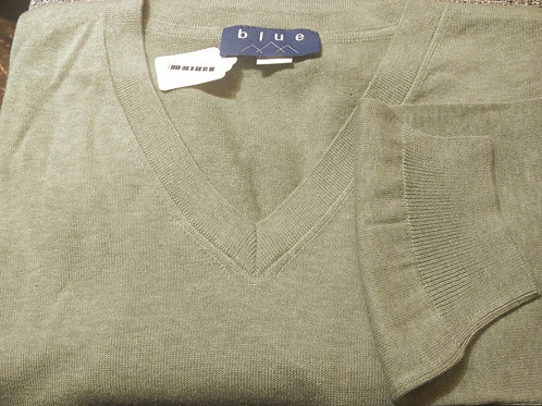 Light Green V-Neck Pima Cotton  Sweater from Blue