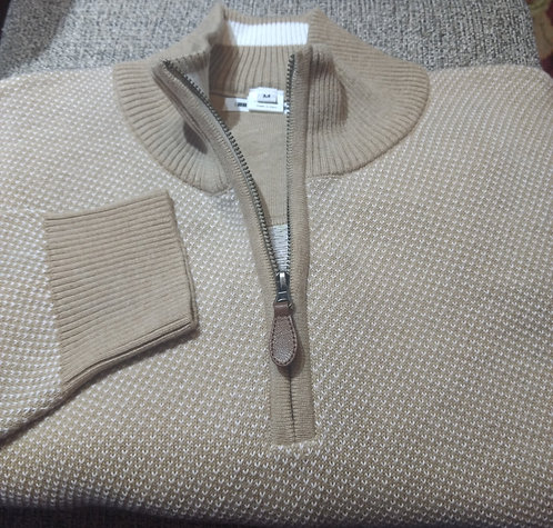 Tan Birds eye 1/4 Zip  Pima Cotton  Sweater from Blue*