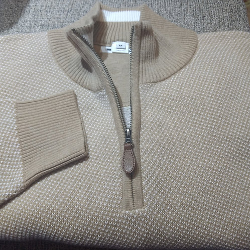 Tan Birds eye 1/4 Zip  Pima Cotton  Sweater from Blue*