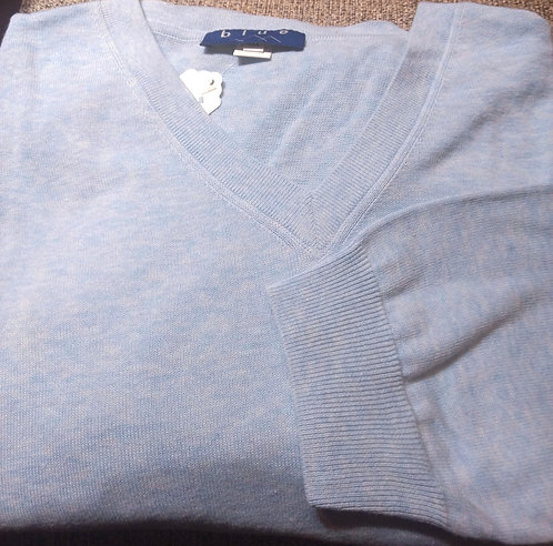 Baby Blue V-Neck Pima Cotton  Sweater from Blue
