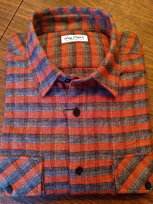 EL Luxury Flannel Shirts-Premium, Long Staple Cotton Shirt-Autumn Stripe