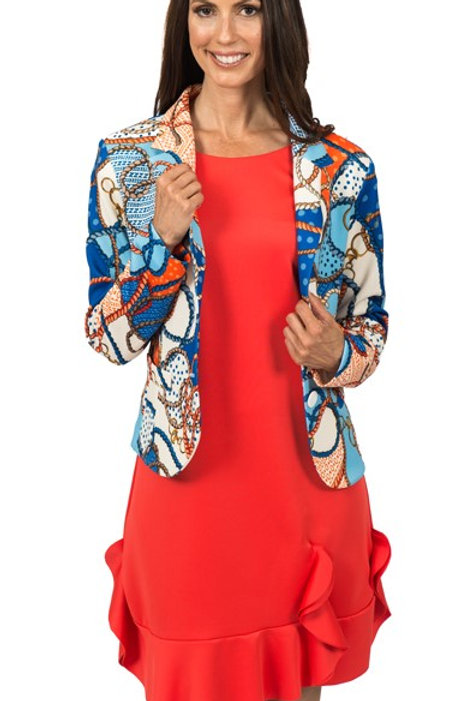 Gucci inspired bold jacket shown with orange dress. ( Jacket only)5644