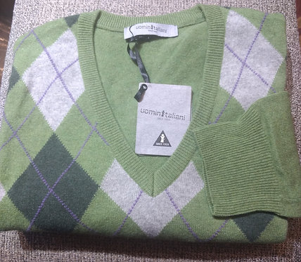 Argyle V-Neck Sweater in Lime/Silver