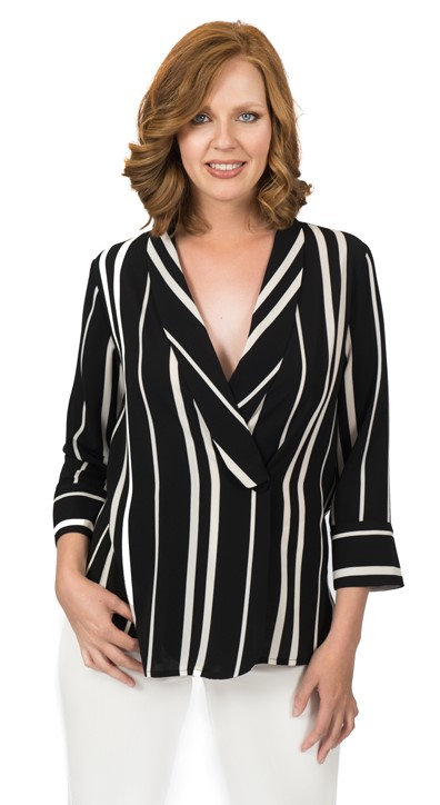 Jacket top BW stripe Blouse Jacket 5624
