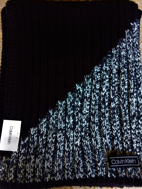 Calvin Klein woven Black scarf with Grey accented corner