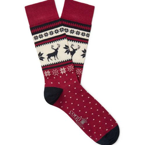 Fair Isle Stag Cotton-Blend Socks