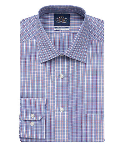 Eagle Regular Fit Non Iron Pinpoint Plaid Stretch Spread Collar*