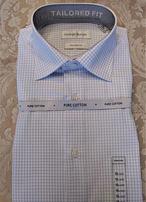 George Austin Dress Shirt-BlueCheck