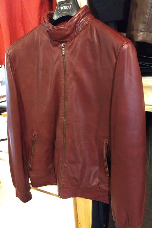 Torras Cherry Red Lamb Skin Leather Jacket