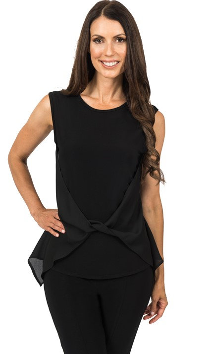 Black wrap front top shown with black stretch slack 56109