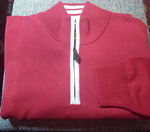 Red/White Trim 1/4 Zip  Pima Cotton  Sweater from Blue