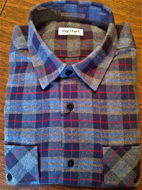 EL Luxury Flannel Shirts-Bilbao Blue