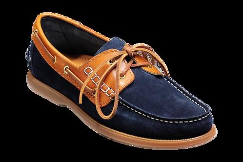 Navy Blue Suede / Cedar Collar Boat Shoe