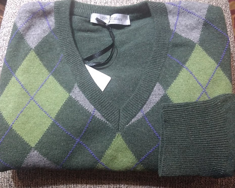 Argyle V-Neck Sweater in Green/Silver
