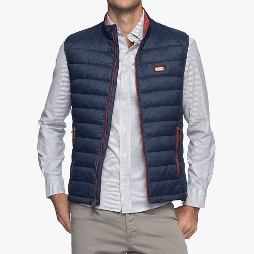 Hudson Quilted 2-way zip front vest in Wake
