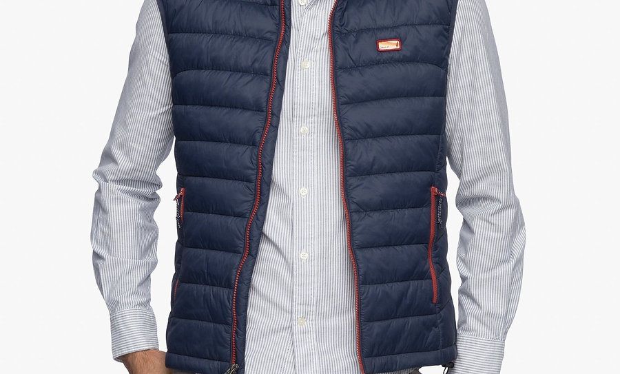 Hudson Quilted 2-way zip front vest in Wake*