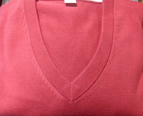Brick Red V-Neck Pima Cotton  Sweater from Blue*
