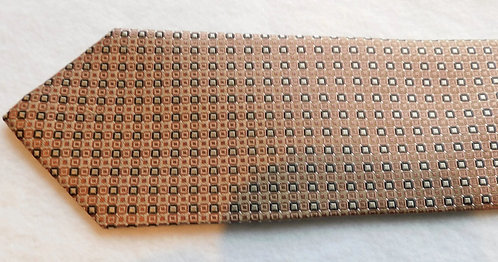 Taupe Ground Woven Silk Navy/Silver Squares