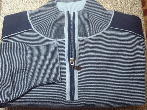 Navy Stripe 1/4 Zip  Pima Cotton  Sweater from Blue