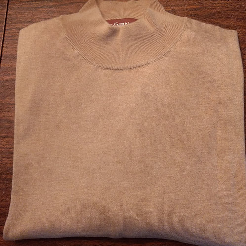 Sojrn Cashmere/Silk Mock Turtle Neck Sweater in Tan