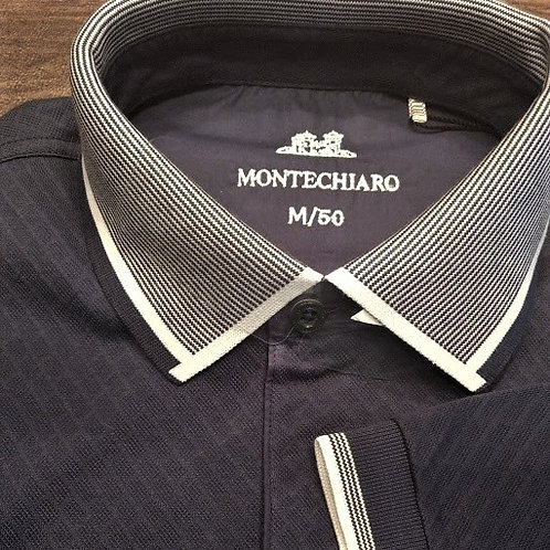 Textured Navy pocketed 1/4 zip polo*