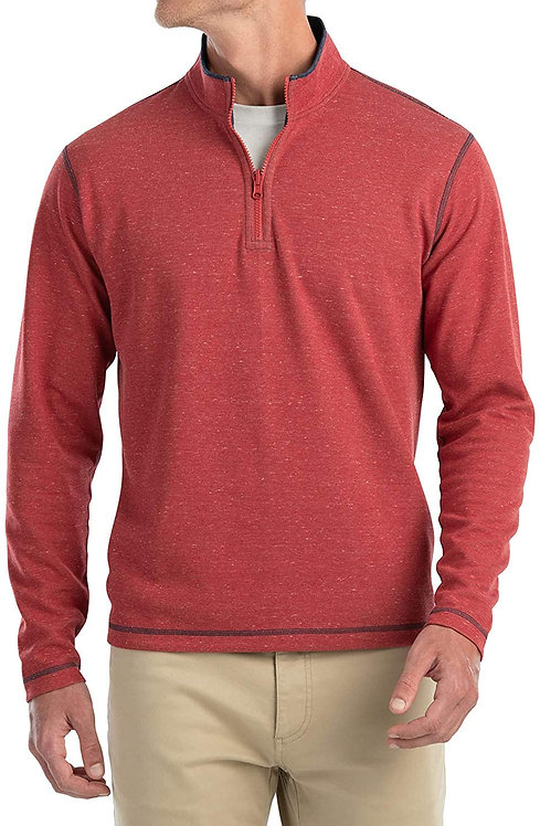 Johnnie-o Alister Reversible 1/4 Zip in Malibu Red