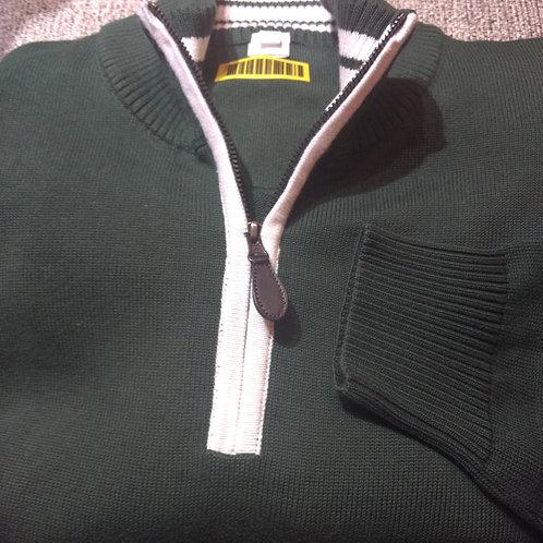 Green/White Trim 1/4 Zip  Pima Cotton  Sweater from Blue