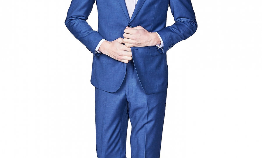 Giovanni Bresciani Royal Blue Sharkskin Suit