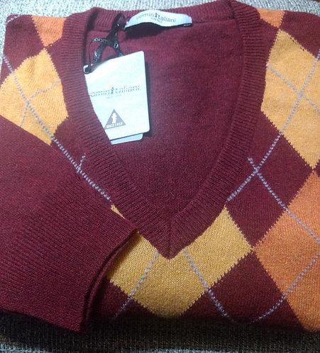 Argyle V-Neck Sweater in Maroon/Orange