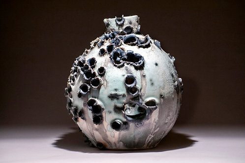 Toasted Porcelain, Mint and Charcoal Vessel