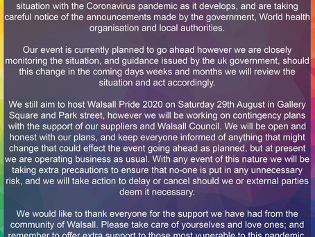 Walsall Pride For All Statement on the Coronavirus