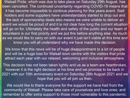 Walsall Pride - Cancelled
