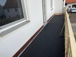 Balkon Abdichtung mit Cu Überhang