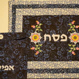 Floral three-tiered matza cover wit