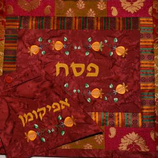 Oriental three-tiered matza cover & afikomen bag