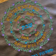 Circular Family Tree Rings in Vine Pattern