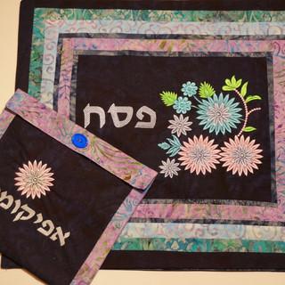 Daisy three-tiered matza cover with afikomen bag