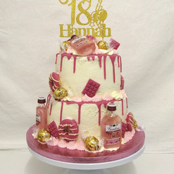 2 tier pink gin drip cake