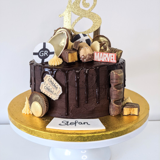 Chocolate drip 18th birthday cake