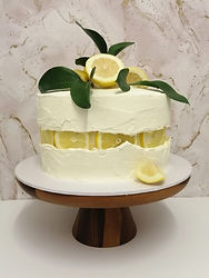 Zesty lemon 'fault line' cake