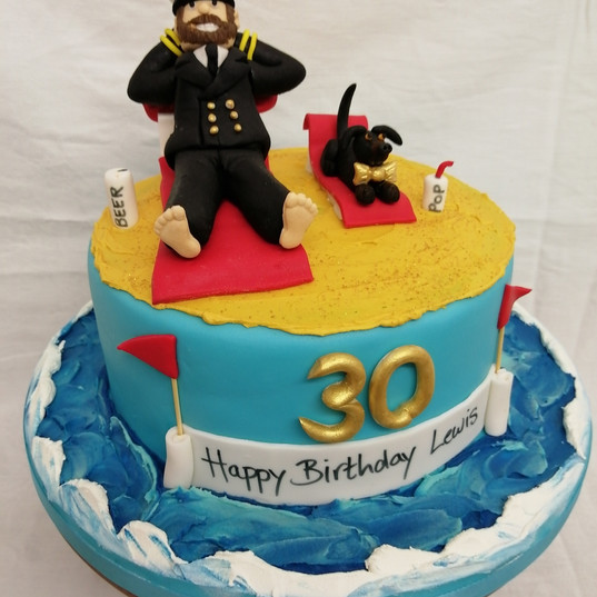 Navy Officer & dachshund cake