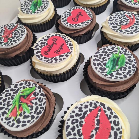 Chili & leopard print cupcakes